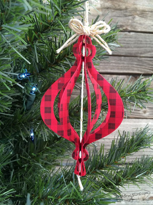 DIY plaid cutout paper Christmas ornaments (via www.100directions.com)