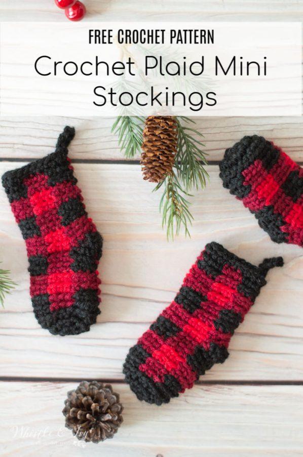 DIY crochet plaid mini stocking Christmas ornaments