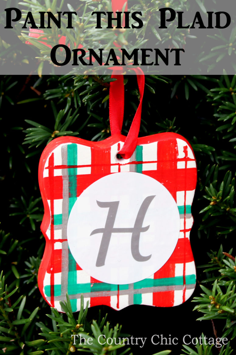 DIY plaid ceramic ornaments painted with pens (via www.thirtyhandmadedays.com)