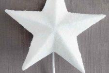 DIY white glittered star Christmas tree topper