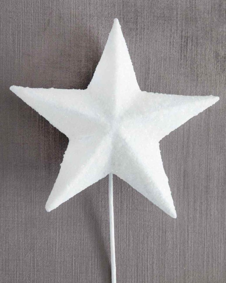 DIY white glittered star Christmas tree topper (via www.marthastewart.com)