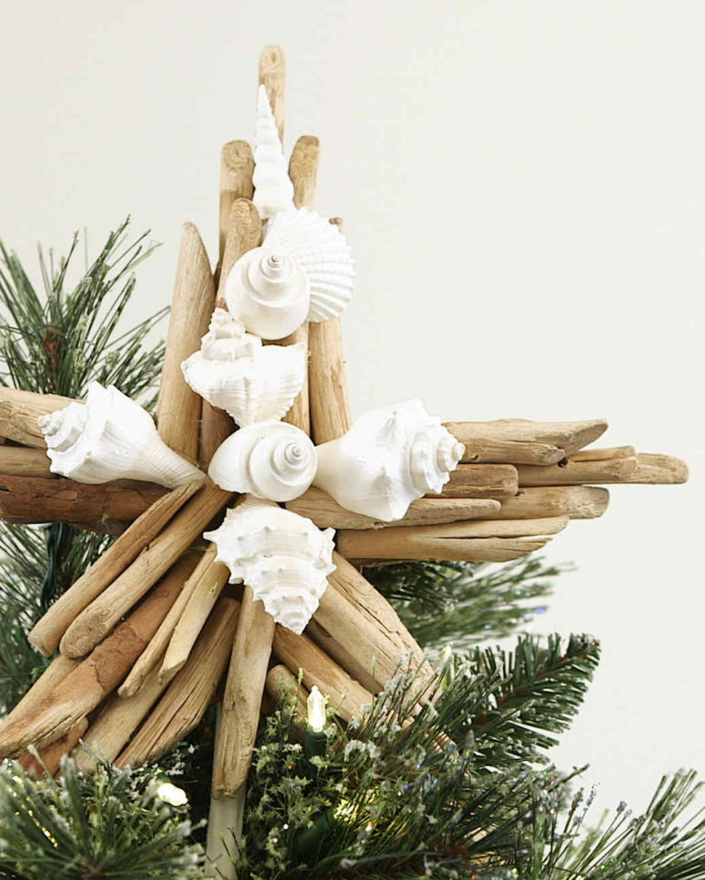 DIY driftwood and seashell star Christmas tree topper (via www.marthastewart.com)