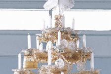 DIY paper doily star Christmas tree topper