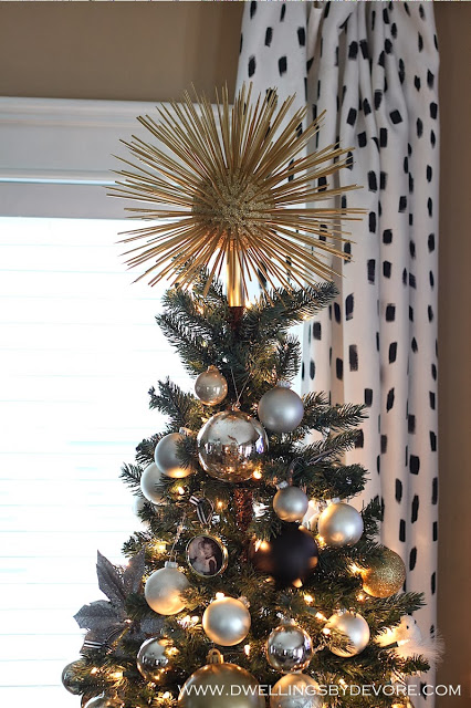 DIY shiny metallic star burst Christmas tree topper