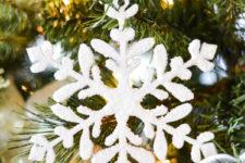 DIY fluffy wooden snowflake Christmas ornament