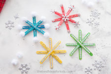 DIY colorful popsicle stick Christmas ornaments
