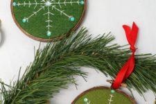 DIY embroidered snowflake Christmas ornament