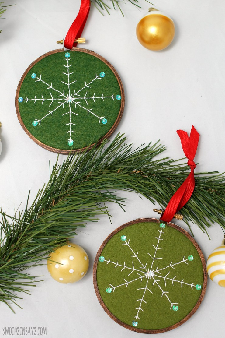 DIY embroidered snowflake Christmas ornament
