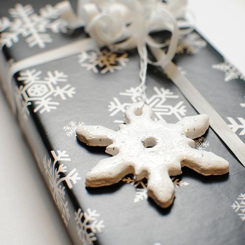 DIY snowflake Christmas ornaments of salt dough