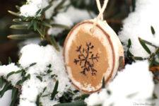 DIY wood burnt snowflake ornament for Christmas