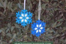 DIY Perler bead snowflake Christmas ornament