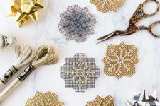 DIY sparkly metallic cross stitch snowflakes