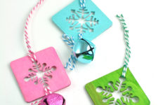 DIY colorful snowflake and jingle bell ornaments