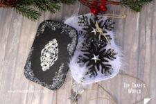 DIY tin snowflake Christmas ornaments with charms