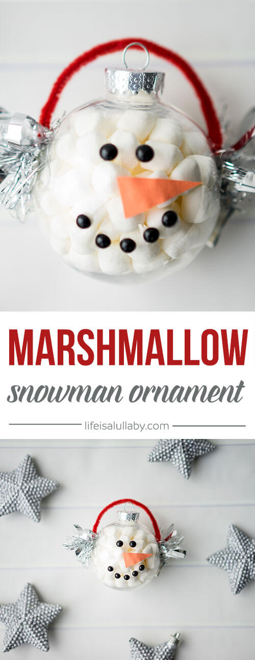 DIY marshmallow filled snowmen Christmas ornaments