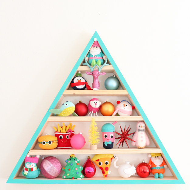 DIY colorful wooden tree advent calendar with toys (via akailochiclife.com)