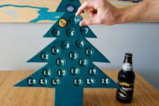 DIY tree-shaped advent calendar with beer bottle caps