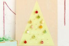 DIY modern Christmas calendar with colorful ornaments