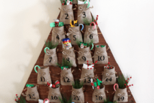 DIY rustic advent calendar with burlap pockets