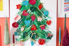 DIY painted tree advent calendar with chocolates