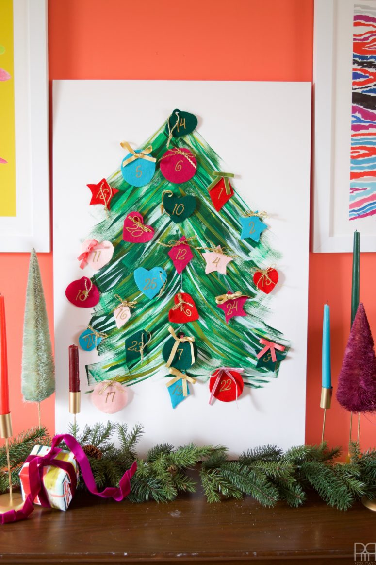 DIY painted tree advent calendar with chocolates (via www.pmqfortwo.com)