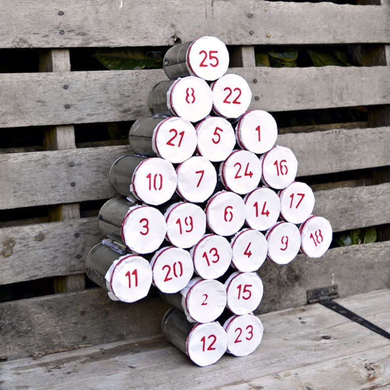 DIY tree-shaped tin can calendar with stuff inside (via www.pillarboxblue.com)