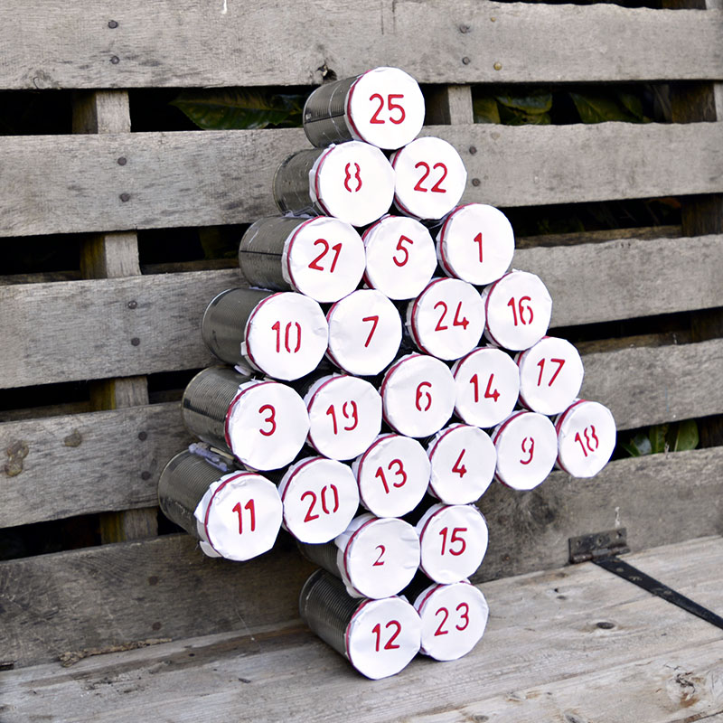 DIY tree shaped tin can calendar with stuff inside