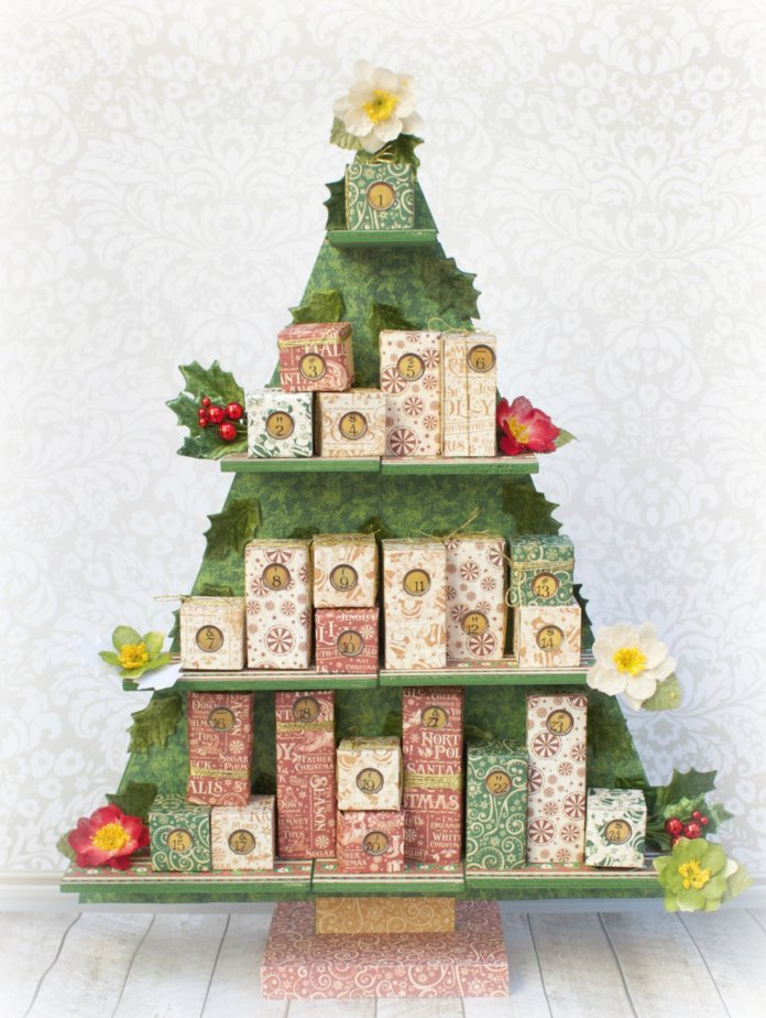 DIY Christmas tree countdown calendar with gift boxes (via www.morenascorner.com)