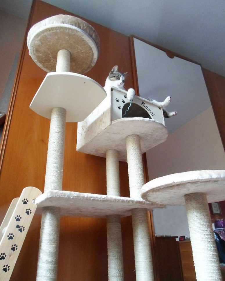 DIY tall cat tree with a cat house included (via www.instructables.com)