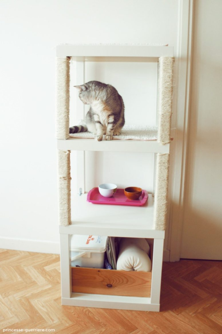 DIY cat condo of IKEA Lack tables (via www.ikeahackers.net)