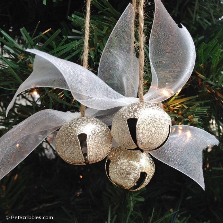 DIY Christmas ornament of silver jingle bells  (via www.petscribbles.com)