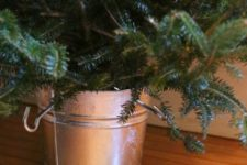 DIY galvanized bucket Christmas tree stand