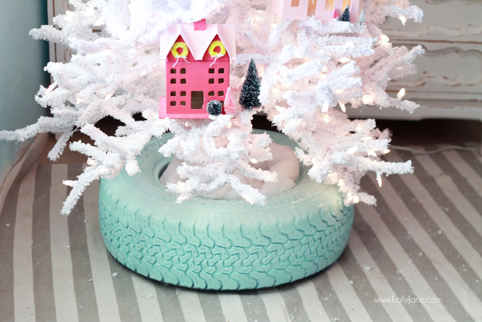 DIY recycled spray painted tire Christmas tree stand