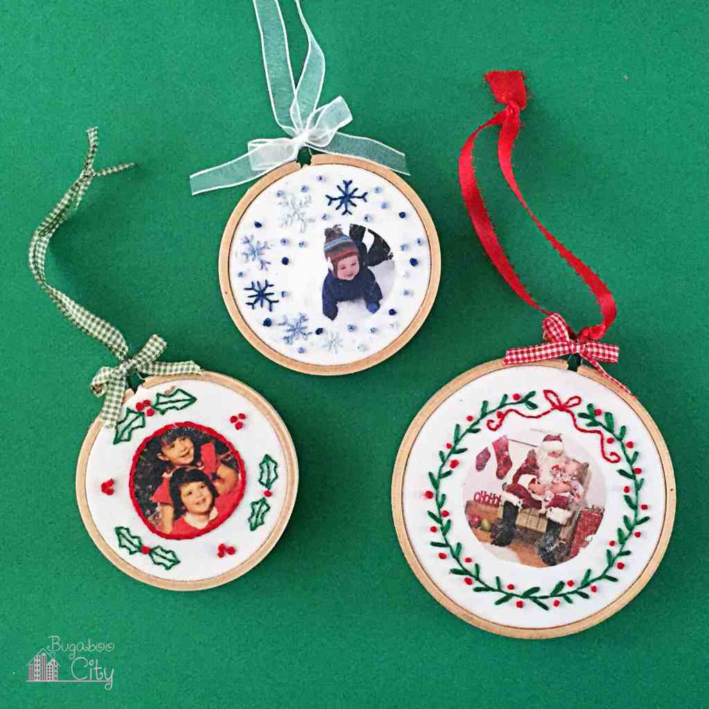DIY embroidery hoop Christmas ornaments with photos