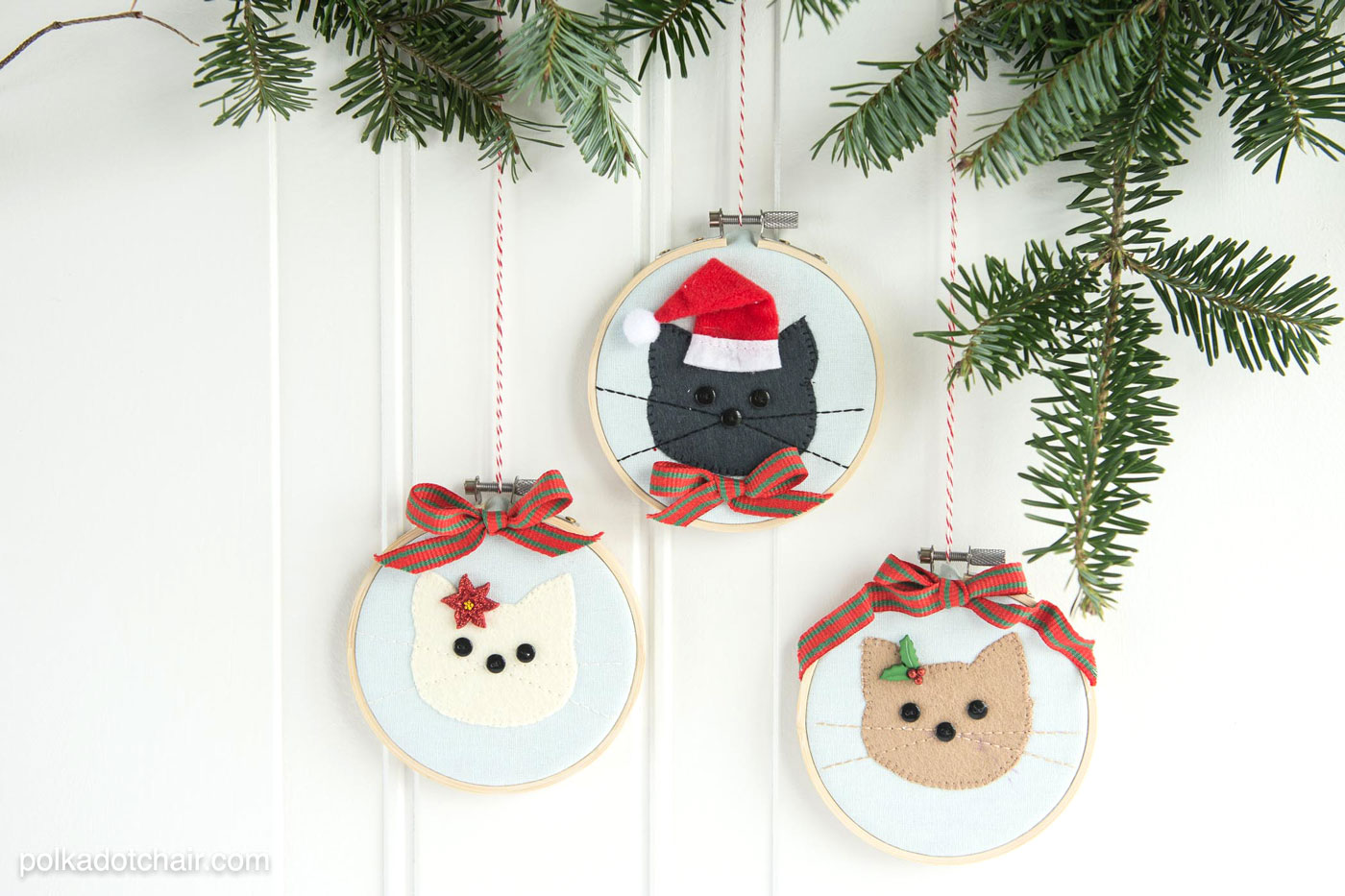 DIY sewn cat embroidery hoop ornaments for Christmas