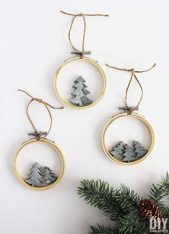 DIY embroidery hoop and faux concrete trees Christmas ornaments (via thediydreamer.com)