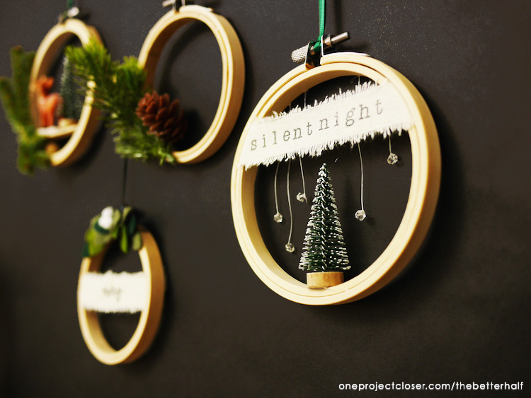 4 different DIY embroidery hoop Christmas ornament