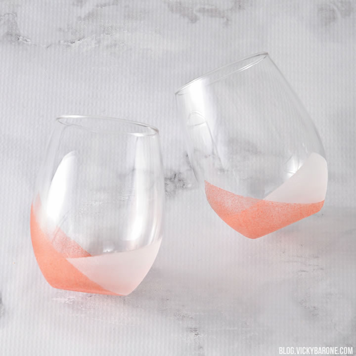 DIY modern coral and white frosted tumblers (via blog.vickybarone.com)