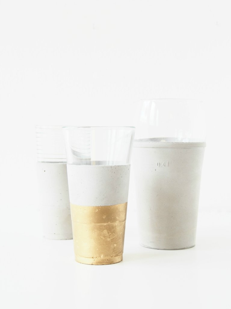 DIY concrete tumblers with gold leaf (via monsterscircus.com)