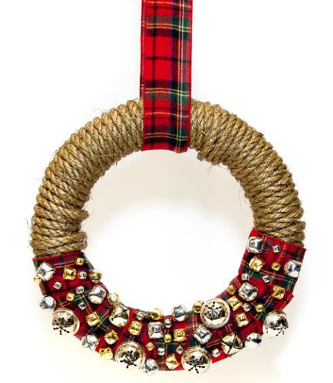 DIY Christmas jingle bell wreath with gold rope and plaid ribbon (via www.countryliving.com)