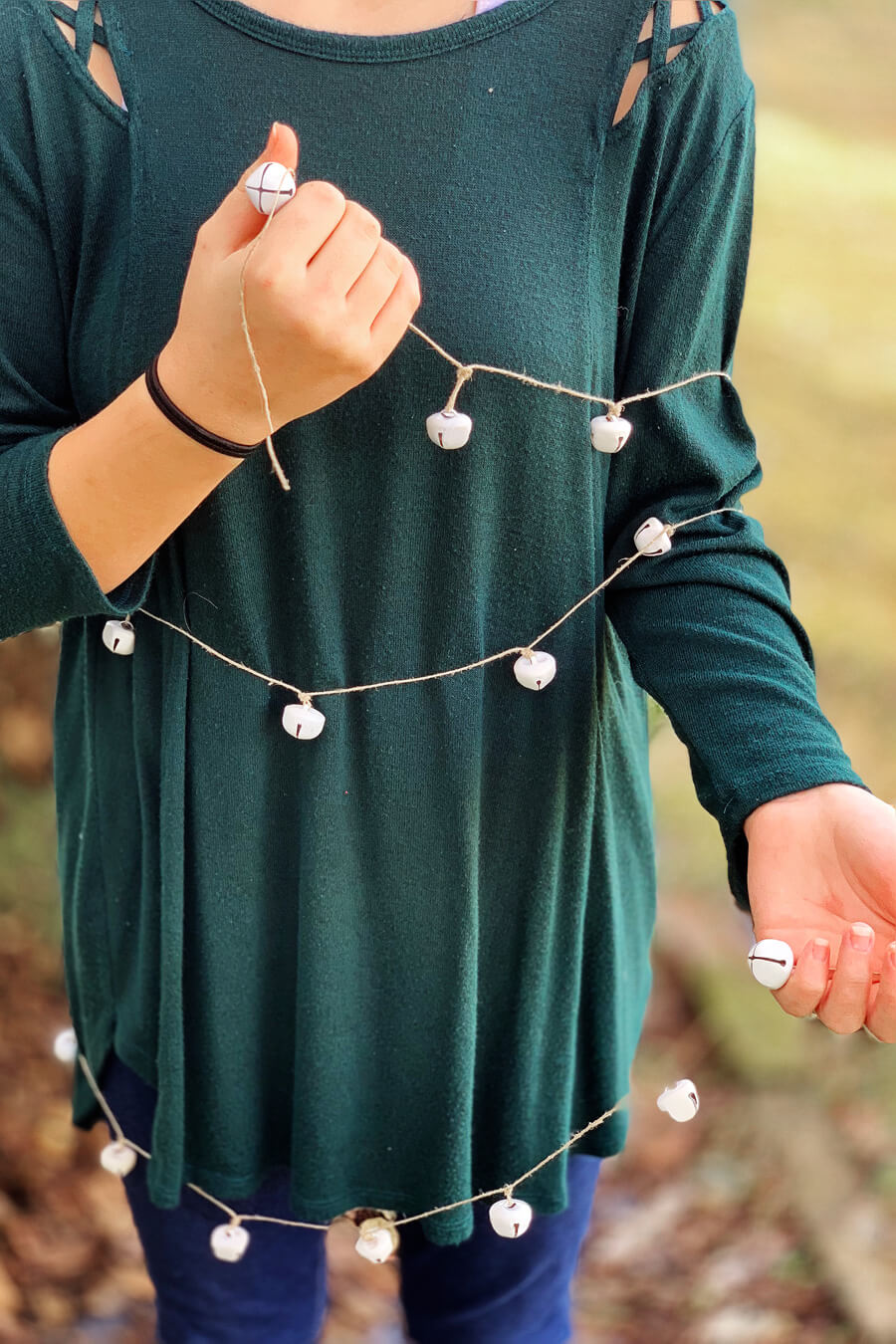 DIY jingle bell Christmas garland