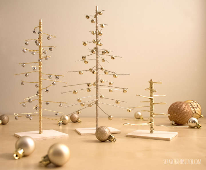 DIY wire and jingle bell Christmas trees in metallics (via scratchandstitch.com)