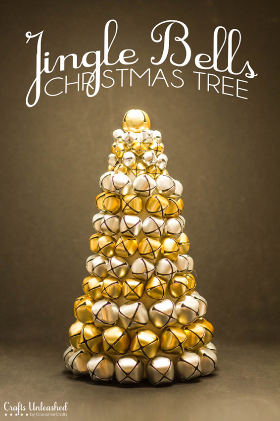 DIY Christmas tree of jingle bells as a usual tree alternative (via blog.consumercrafts.com)