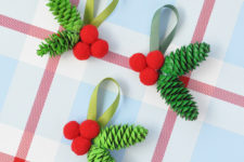 DIY retro-inspired Christmas pinecone ornaments in three ways