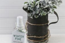 DIY winter pine room spray for Christmas