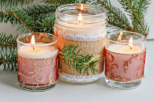 DIY Christmas pine and frankincense scented candles
