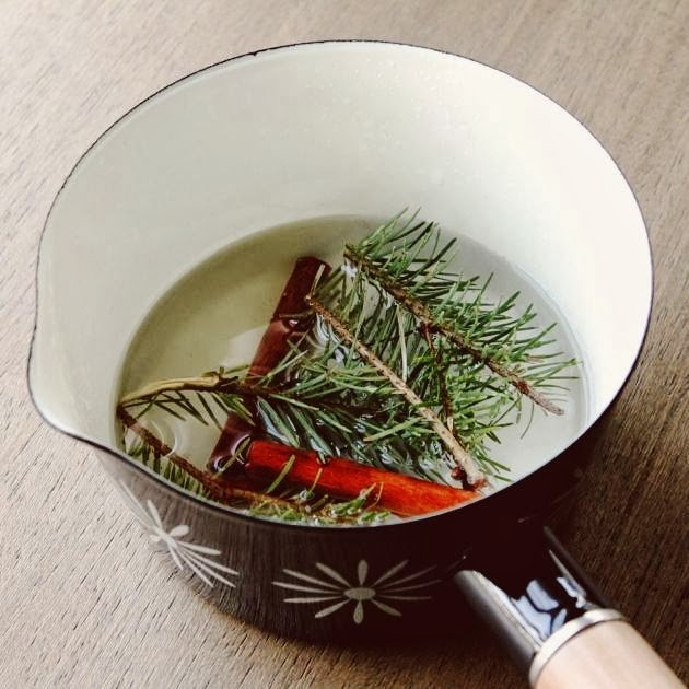 DIY Christmas potpourri of nutmeg berries, cloves, rosemary and pine needles (via www.make-haus.com)