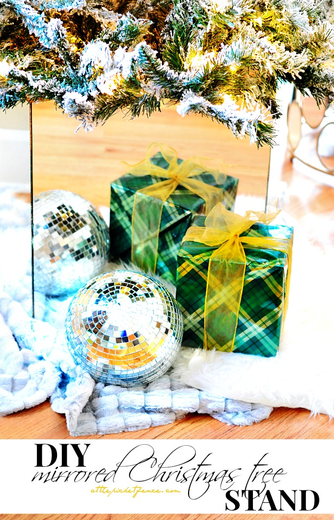 DIY mirror Christmas tree stand box for a modern or glam look (via www.atthepicketfence.com)