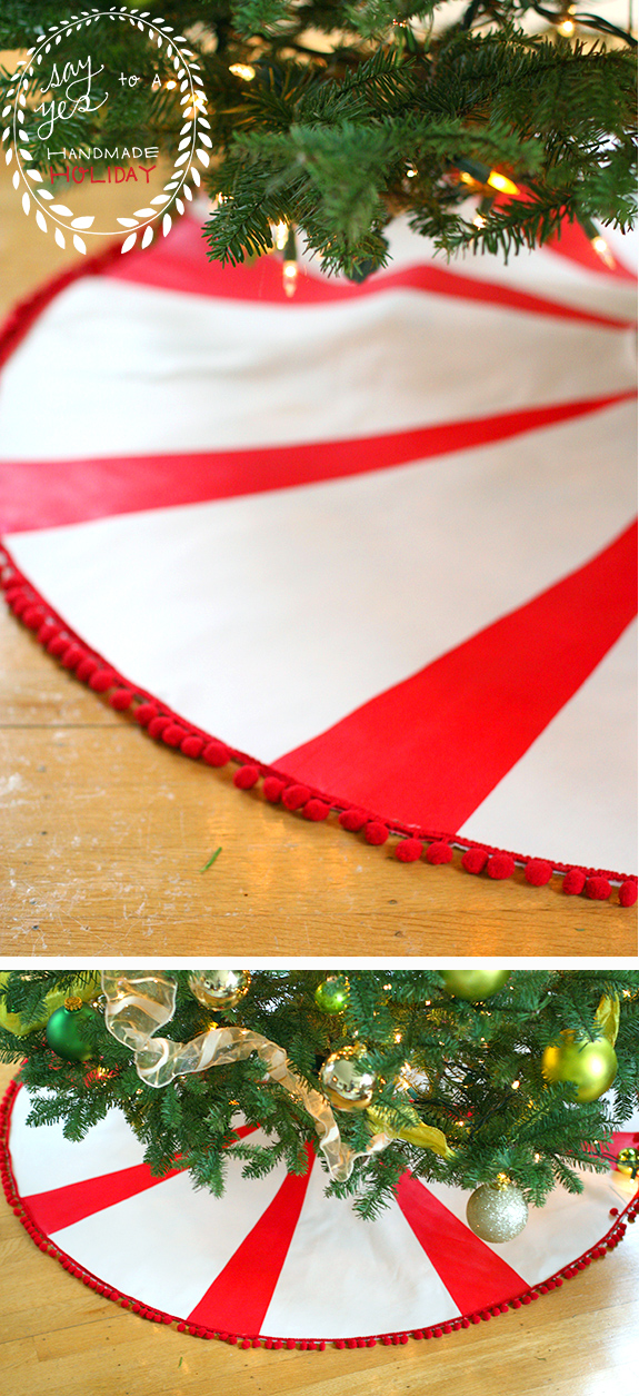 DIY peppermint candy tree skirt with a pompom trim (via sayyes.com)