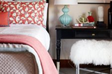 03 a coral printed pillow and a matching blanket is a cool and budget-friendly way to spruce up your space